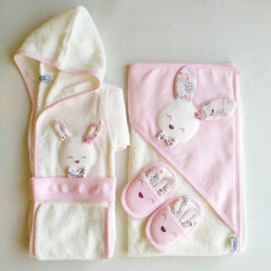 Baby Bath Set, 4 pieces, Peach Rabbit