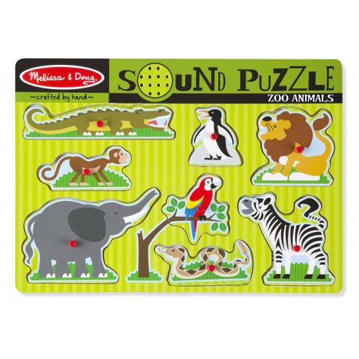 Melissa & Doug Zoo Animals Sound Puzzle - 8 Pieces