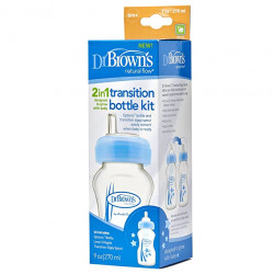 "Dr. Brown's 270 ml Wide-Neck ""Options"" Transition Bottle w/ Sippy Spout - Blue, 1-Pack"