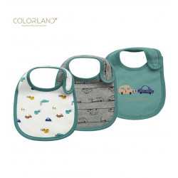 Colorland 3 Pieces Cotton Feeding Baby Bibs - Green