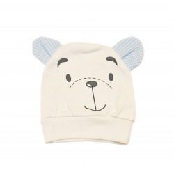 Newborn Baby Brown Bear Hat - White and Blue