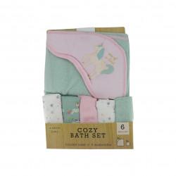 Modern Baby 6 Piece Cozy Bath Set, Unicorn