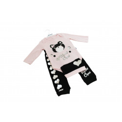 Miniword Body Pink and Black Cat 6-9 Months