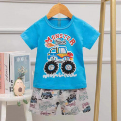 Half Sleeves T-Shirt & Short Pants Pajama Set, Monoester Design, 3 Years