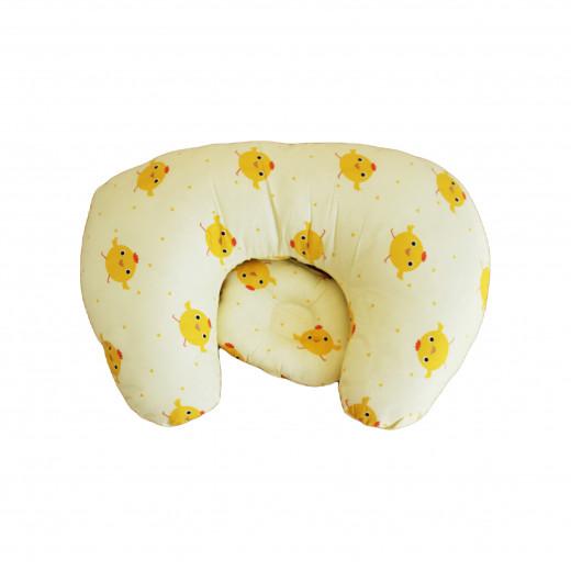 مخدة الرضاعة مع وسادة رأس للرضع ، اصفر