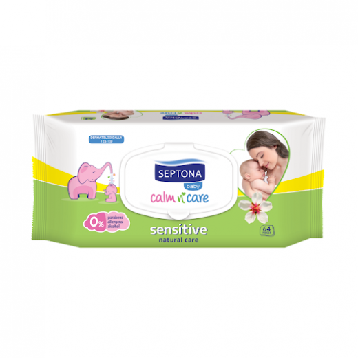 Septona Baby Wipes Sensitive, 64 Pieces