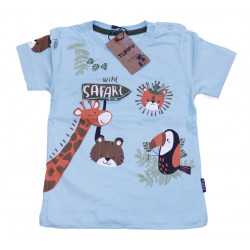Baby Blue Short Sleeves T-shirt with Safari Design, 18 Months