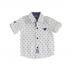White Long- Sleeves Shirt With Sailors Design for Boys, 3 Years Age