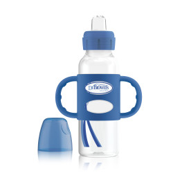 """Dr. Brown's 250 ml Narrow-Neck """"Options compatible"""" Sippy Spout Bottle w/ Silicone Handles, Blue, 1-Pack"""
