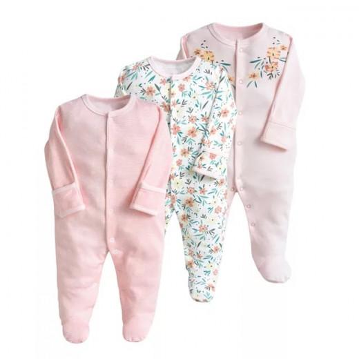قطع ملابس طويلة الأكمام للأطفال  3 قطع في عبوة واحدة 3-6 أشهر من كالور لاند, زهرة