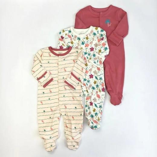 قطع ملابس طويلة الأكمام للأطفال  3 قطع في عبوة واحدة 6-9 أشهر من كالور لاند, فلامنغو