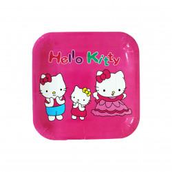 أطباق مربعة يمكن التخلص منها للأطفال ،بتصميم هالو كيتي باللون زهري ، 10 قطع