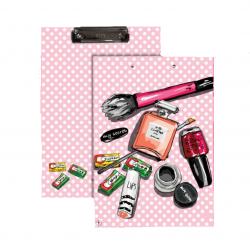 دفتر كتابة بتصميم المكياج باللون الزهري من واي ام