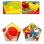 طاولة بلاستيكية رمل وماء دائرية مع غطاء ، شجرة دائرية مع حفار قابل للضبط ، 22 قطعة