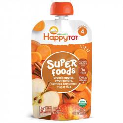 طعام الأطفال المهروس التفاح العضوي + جزر البطاطس و هريس القرفة (120 جرام) من هابي توت